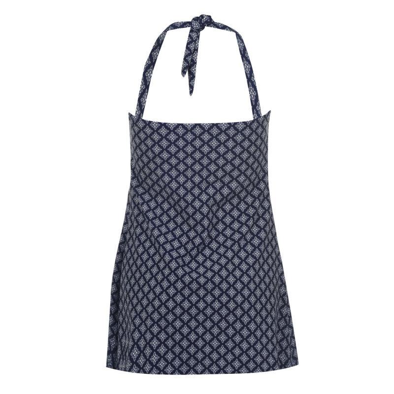 Plavky Full Circle Halter Swimming Dress Ladies Navy Geo Print
