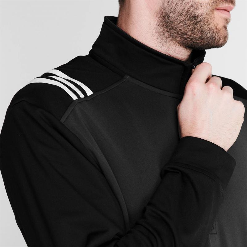 Adidas 3 Stripe Zip Top Mens White/Black