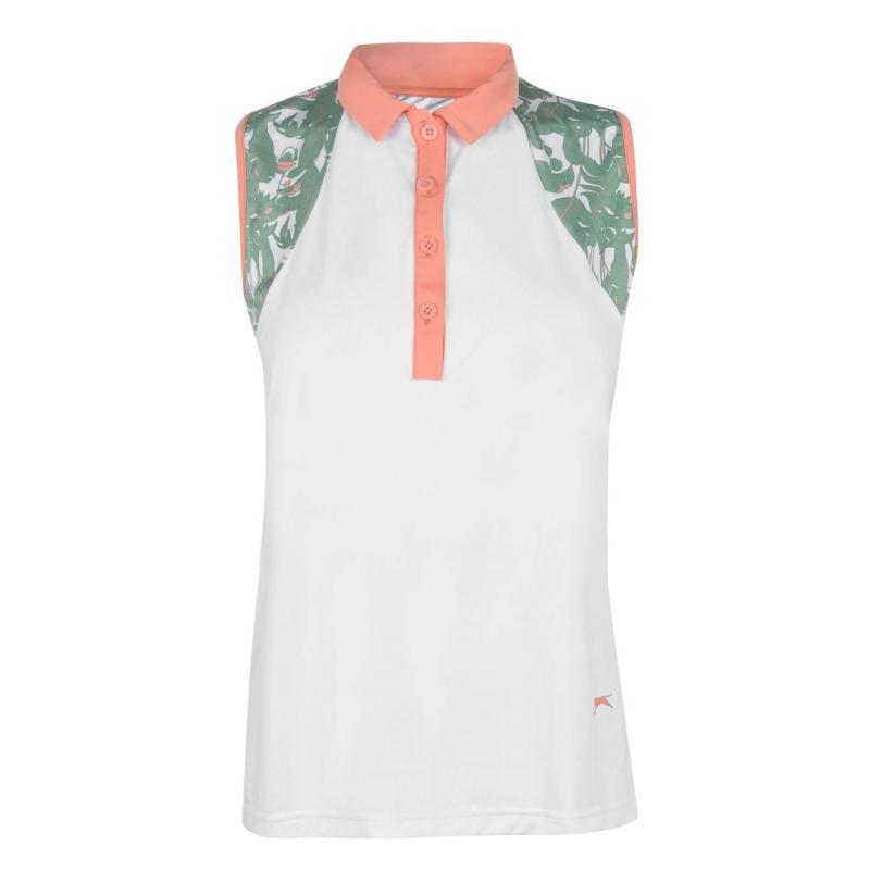 Polokošile Slazenger Sleeveless Fashion Polo Shirt Ladies White/Floral