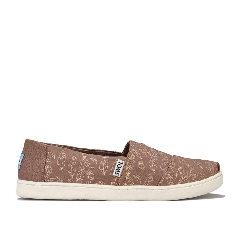 Toms Children Girls Foil Feathers Pumps Brown