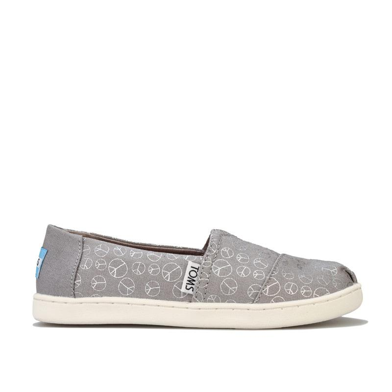 Toms Childrens Girls Foil Peace Pumps Grey