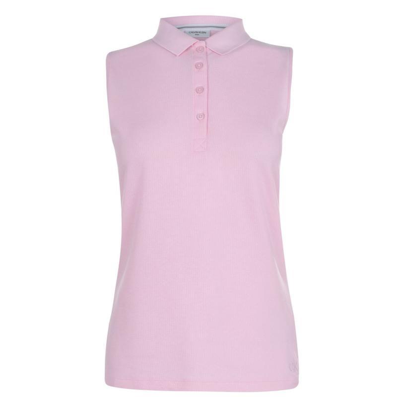 Polokošile Calvin Klein Golf Sleeveless Cotton Polo Shirt Pale Pink