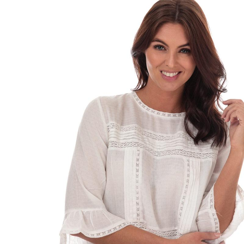 Only Womens Anemone 3 Quarter Flare Sleeve Top White