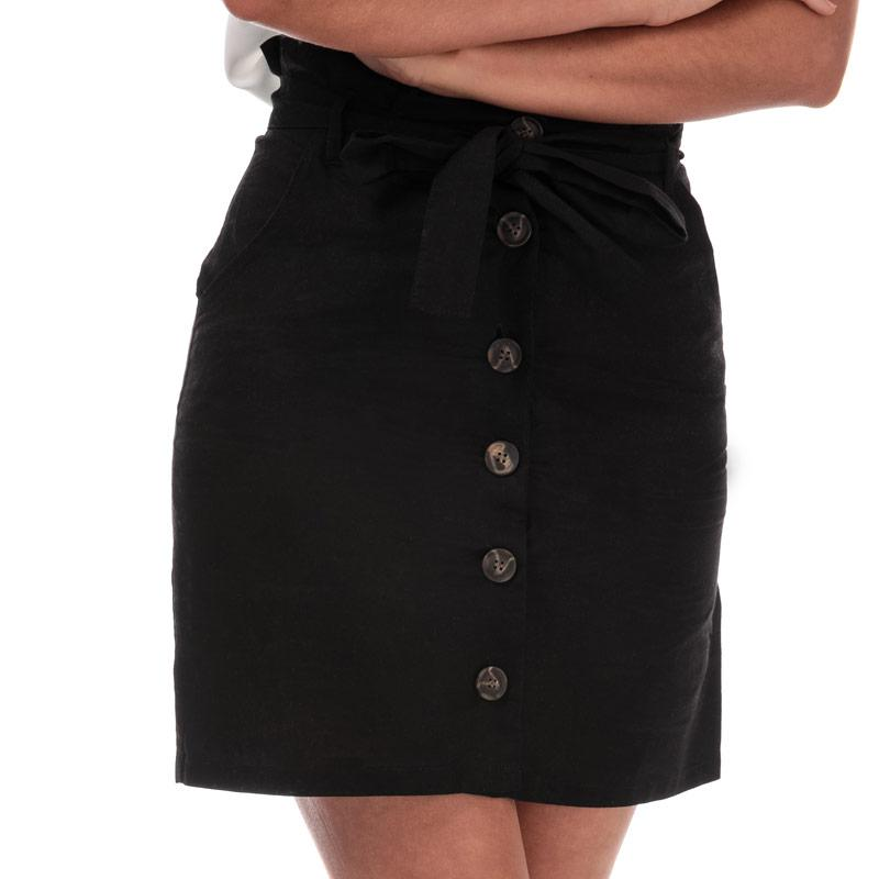 Sukně Brave Soul Womens Paper Bag Button Through Skirt Black