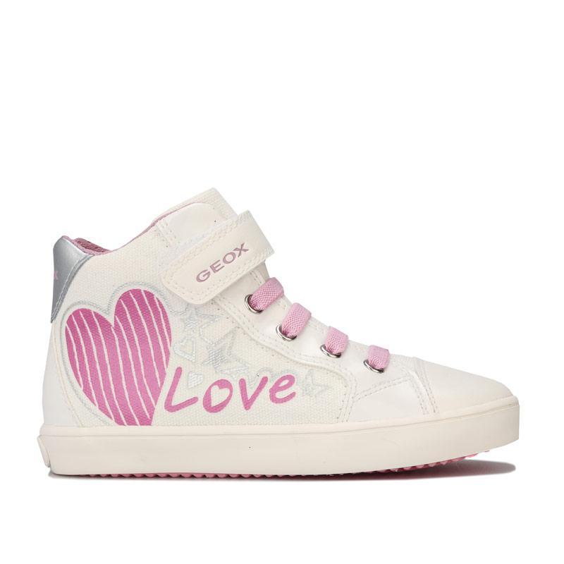 Geox Junior Girls Gisli High Trainers White pink