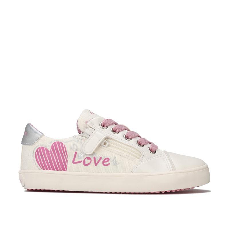 Geox Junior Girls Gisli Low Trainers White pink