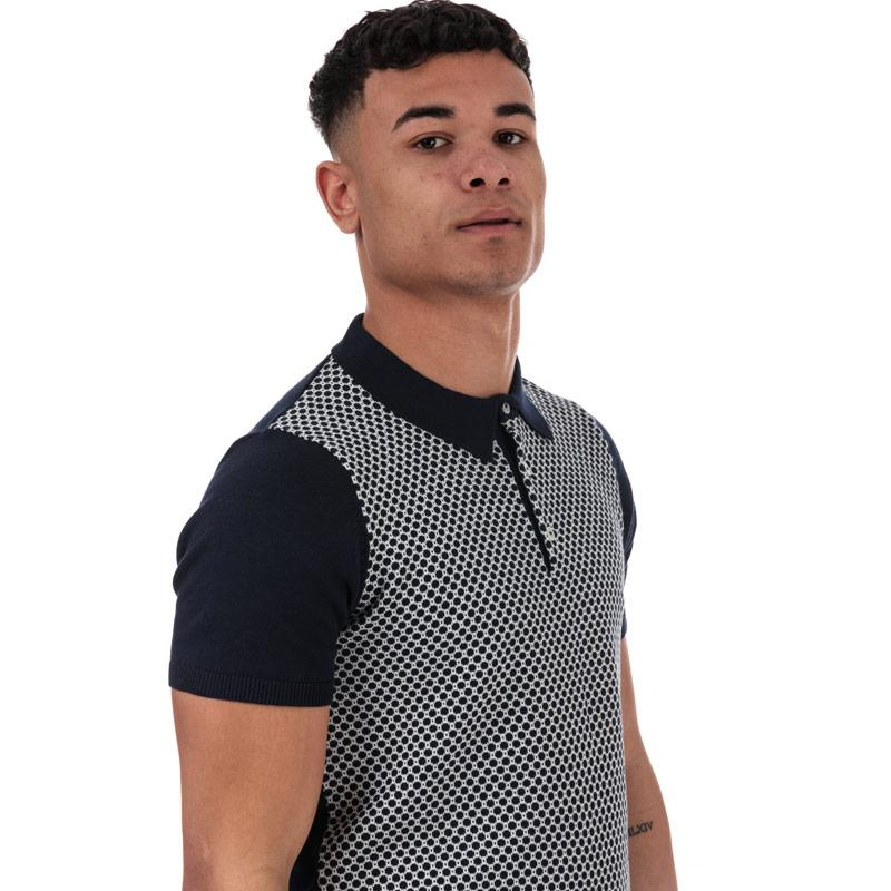Ben Sherman Mens Geometric Knit Polo Shirt Navy