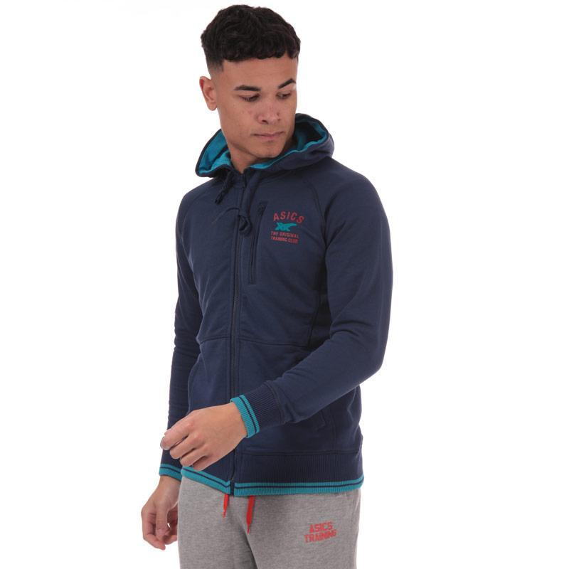 Mikina Asics Mens Graphic Training FZ Hoody Blue