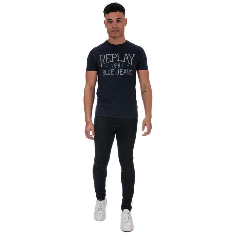 Tričko Replay Mens Vintage Jeans Logo T-Shirt Blue