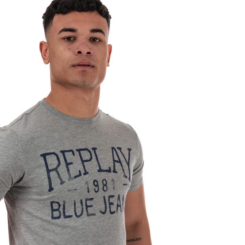 Tričko Replay Mens Vintage Jeans Logo T-Shirt Grey