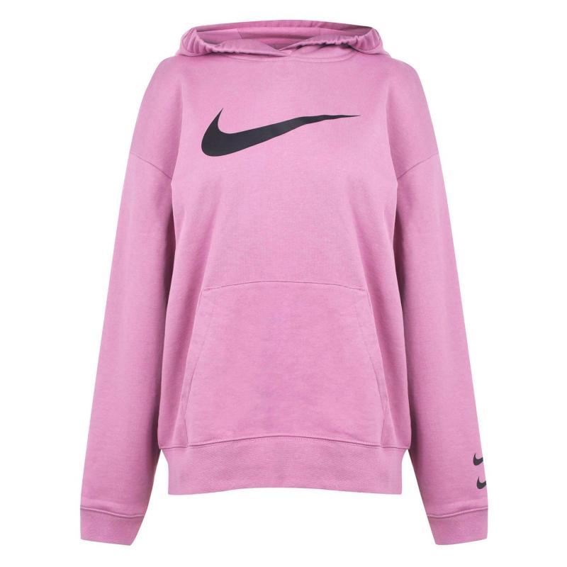 Mikina s kapucí Nike Sportswear Swoosh Women's Hoodie PLUM DUST/BLACK