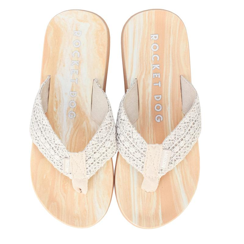 Boty Rocket Dog Womens Adios Pearl Flip Flops Cream