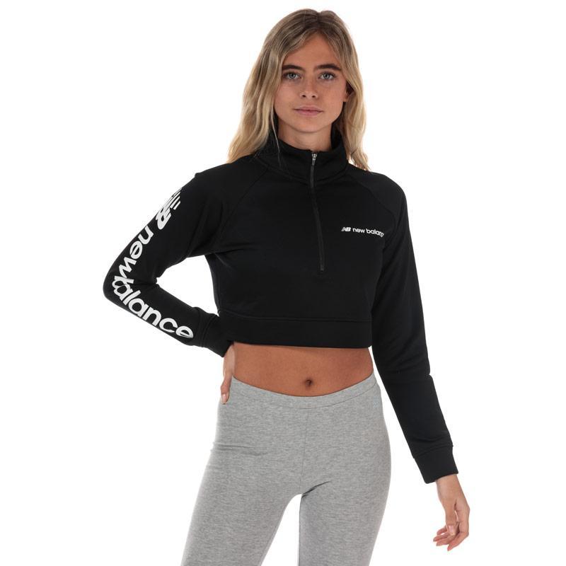 Mikina New Balance Womens Optiks Cropped Jacket Black