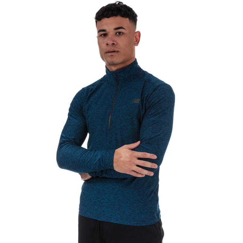 New Balance Mens Core Space Dye Quarter Zip Top Blue