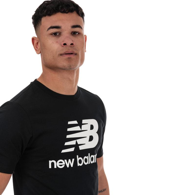 Tričko New Balance Mens Essentials Stacked Logo T-Shirt Black