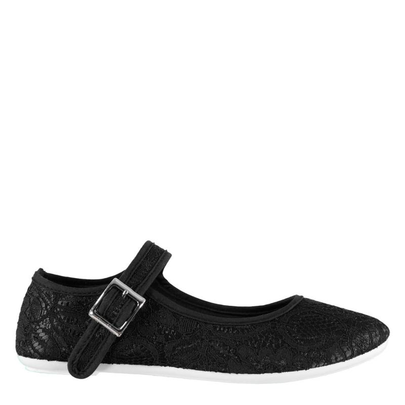 Obuv Slazenger Canvas Mary Jane Ladies Shoes Black Broderie