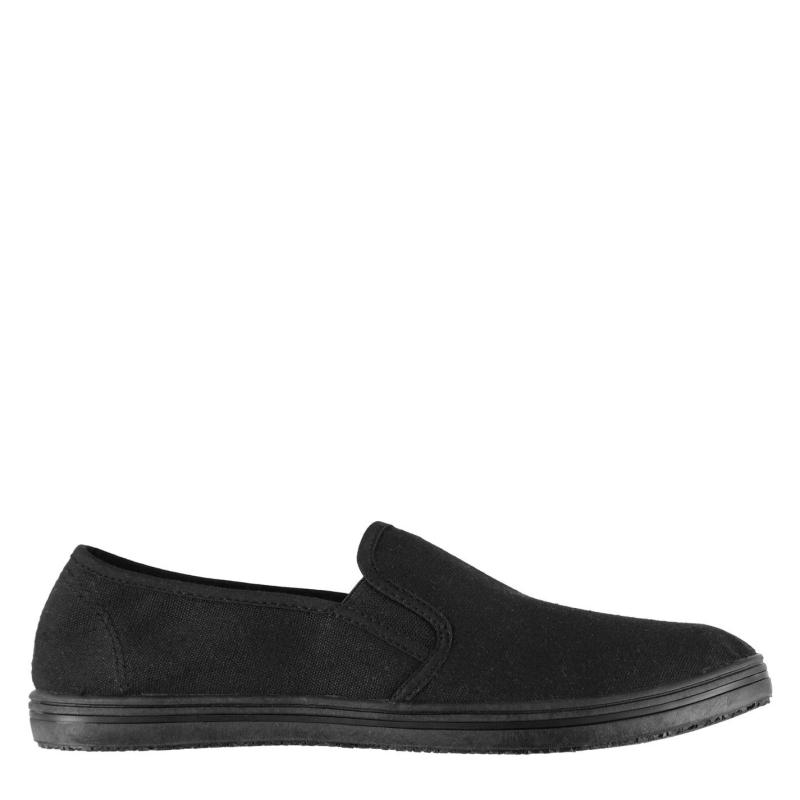 Boty Slazenger Mens Slip On Canvas Shoes Black