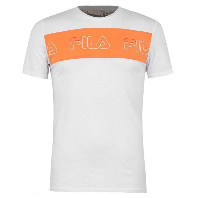Tričko Fila UP Logo T-Shirt Mens White/Yellow