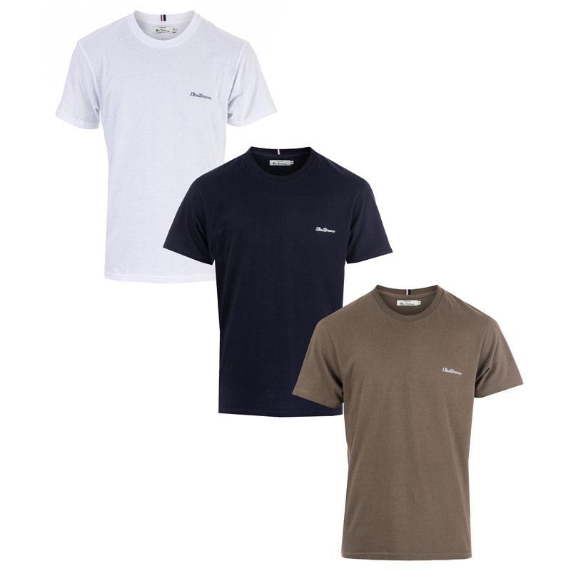 Tričko Ben Sherman Mens Logo 3 Pack T-Shirts White Navy