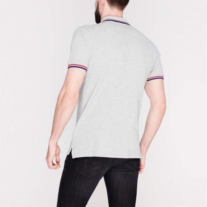Pierre Cardin Tipped Polo Shirt Mens Grey Marl