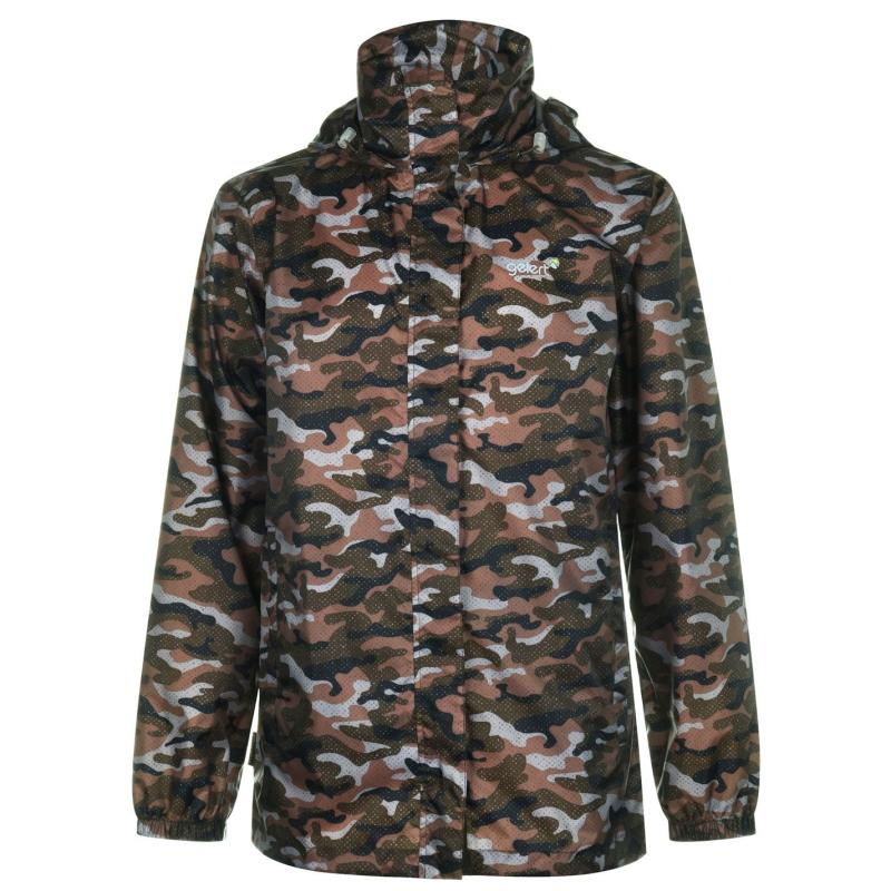 Gelert Packaway Mens Waterproof Jacket Green Camo
