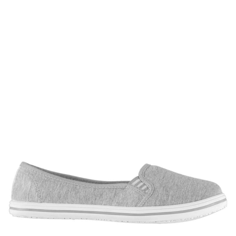 Obuv Slazenger Ladies Canvas Slip On Shoes Grey Marl