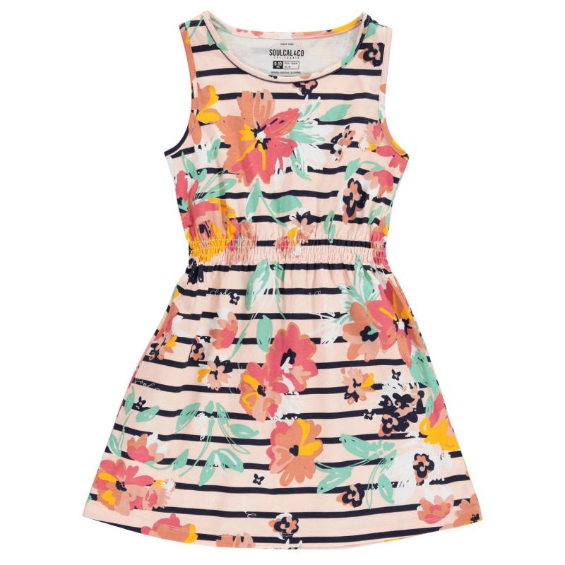 Šaty SoulCal Jersey Dress Junior Girls Rust Floral