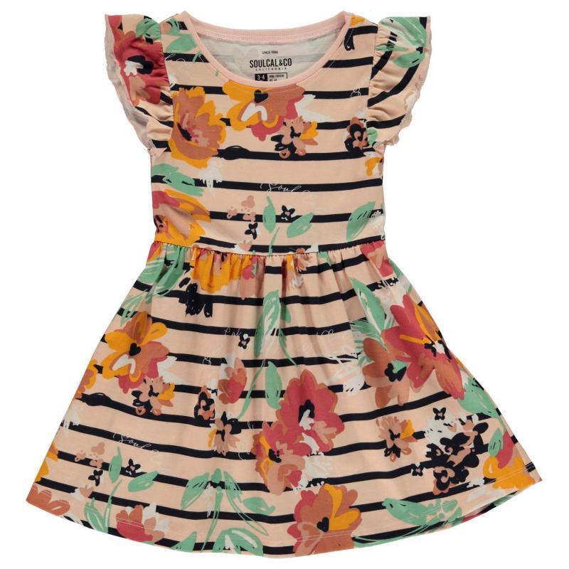 Šaty SoulCal Jersey Floral Dress Infant Girls Rust Floral