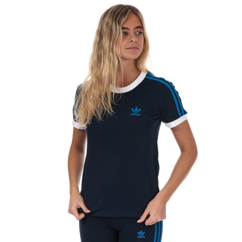 Adidas Originals Womens 3-Stripes T-Shirt Navy