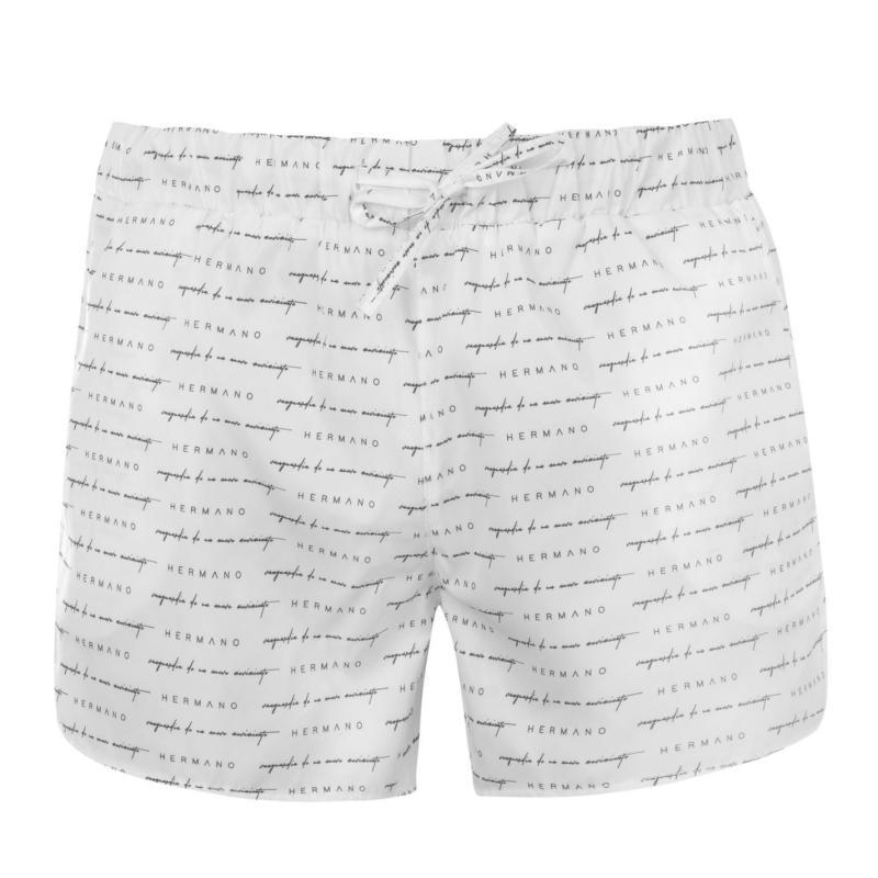 Plavky Hermano Mens Printed Swim Shorts White/Blk/Gd