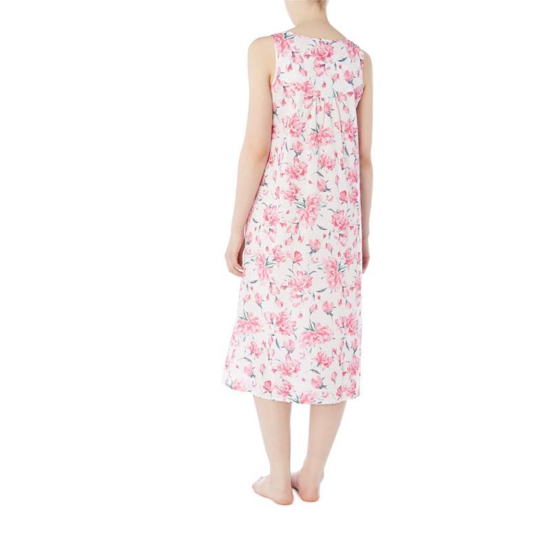 Pyžama Nora Rose Floral Print Dress WHITE & PINK
