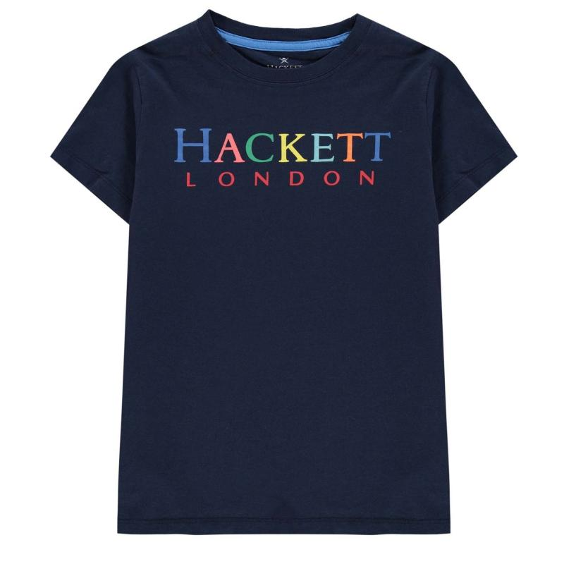 Tričko Hackett Hacket Logo T Shirt Navy 595