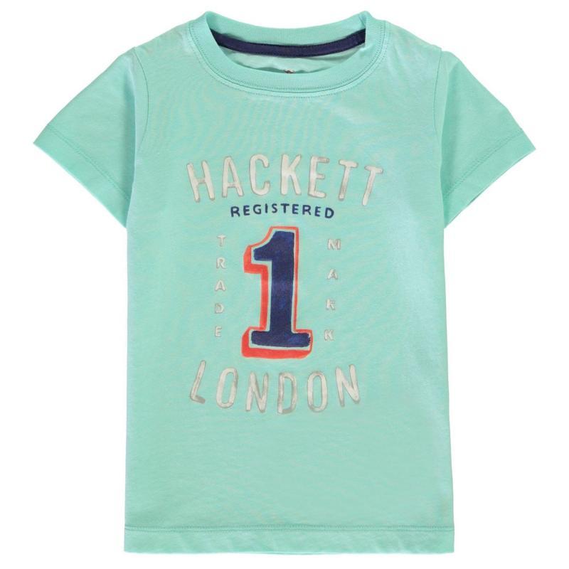 Tričko Hackett Hackett Short Sleeve No 1 Print T Shirt 5P1 Aqua