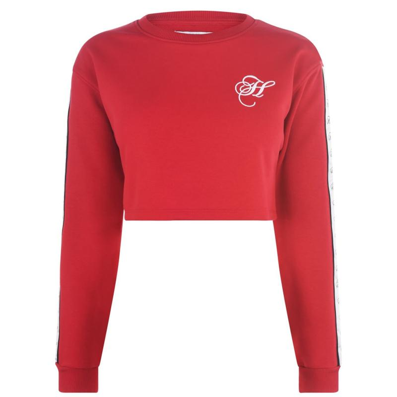 Mikina Hardcore Brooklyn Crew Neck Cropped Sweatshirt Red/White