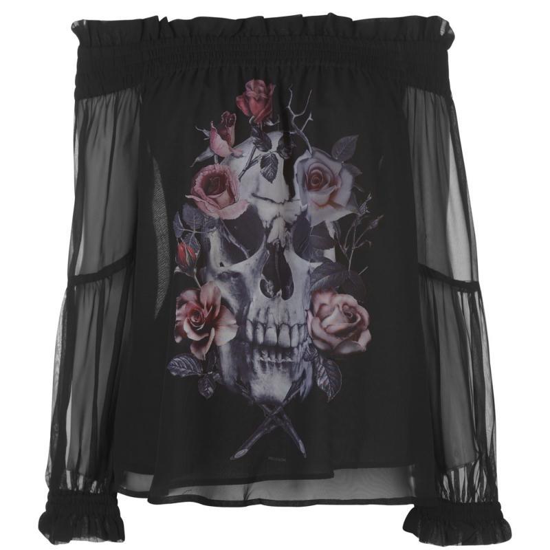 Košile Religion Skull Top Jet Black