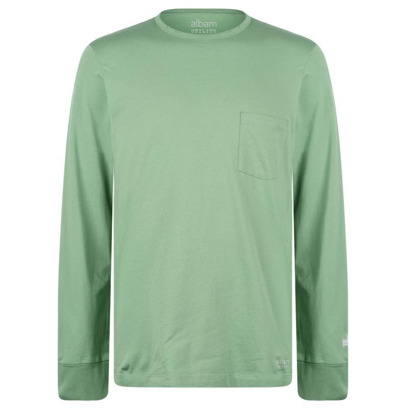 Tričko Albam Utility Pocket Long Sleeve T-Shirt Green