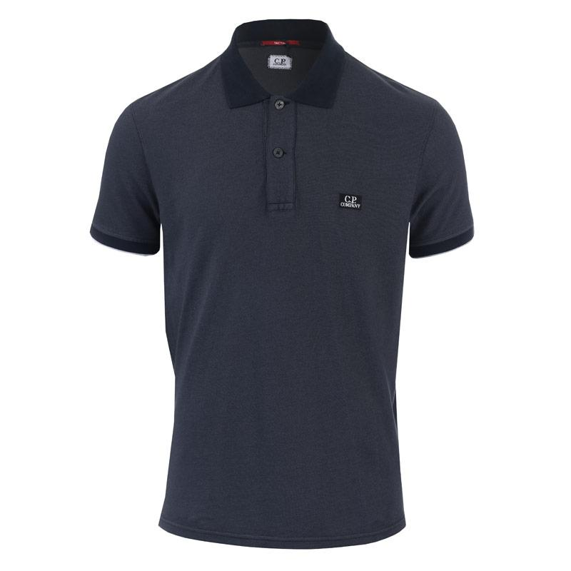 C.P. Company Mens Garment Dyed Polo Shirt Navy