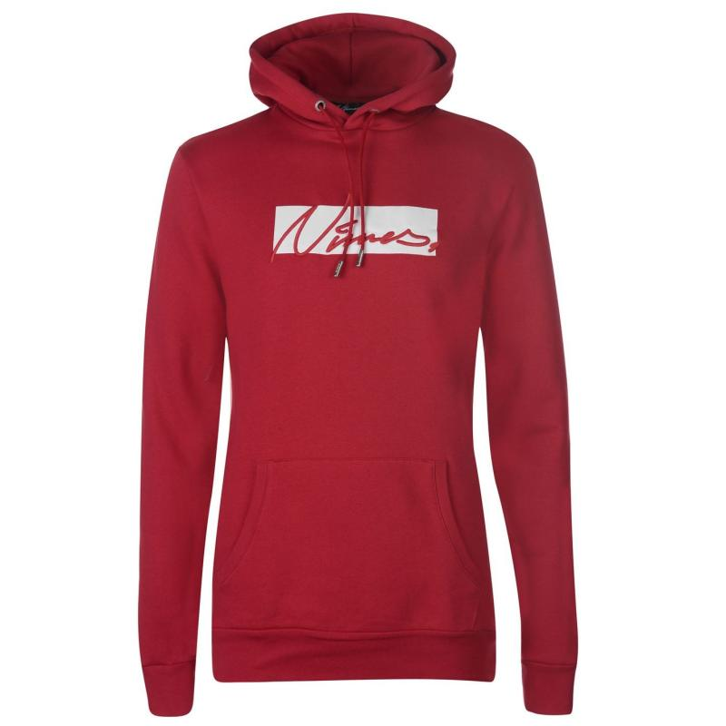 Mikina Nimes Box Script Over the Head Hoodie Red/White