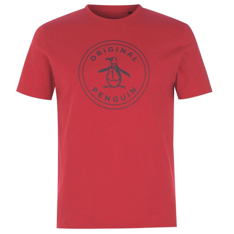 Tričko Original Penguin Penguin Short Sleeve Stamp T Shirt Mens Lipstick Red