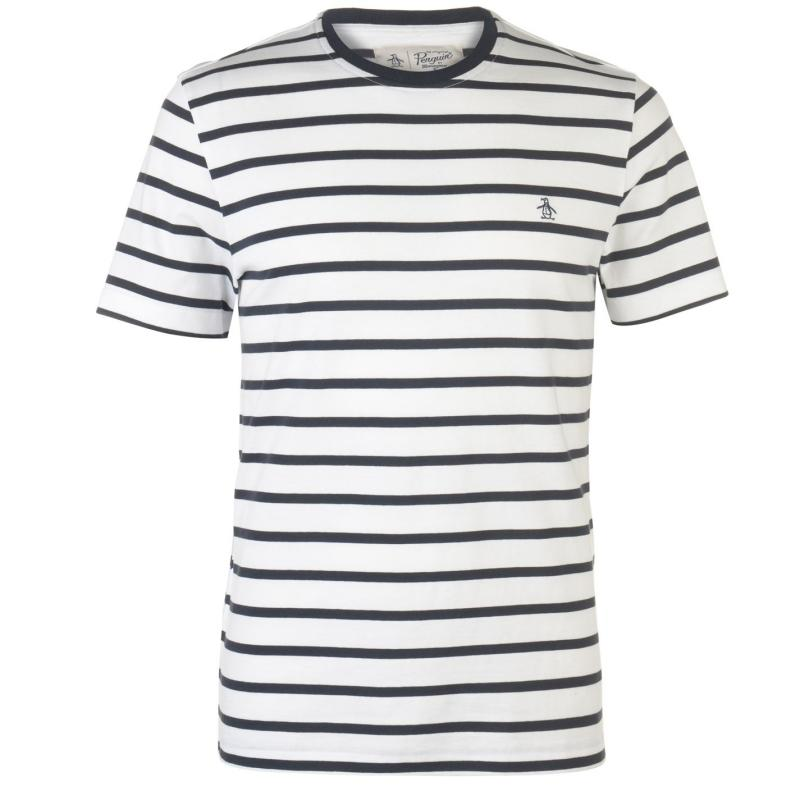 Tričko Original Penguin Breton Striped T Shirt White 118
