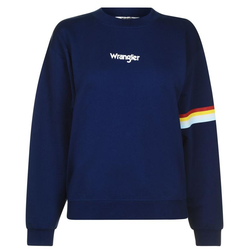 Mikina Wrangler Retro Crew Sweatshirt Blue Depths