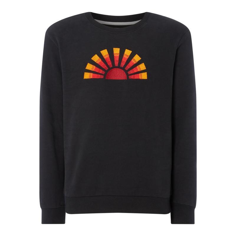 Mikina Hymn Sun Embroidered Sweatshirt BLACK