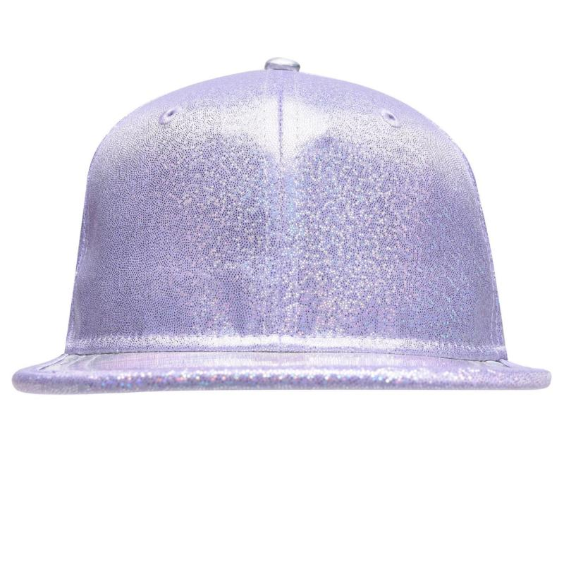 Crafted Bling Flat Peak Cap Junior Girls Purple