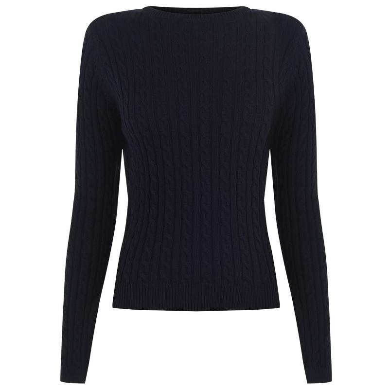 Svetr Kangol Crew Neck Knit Jumper Ladies Navy