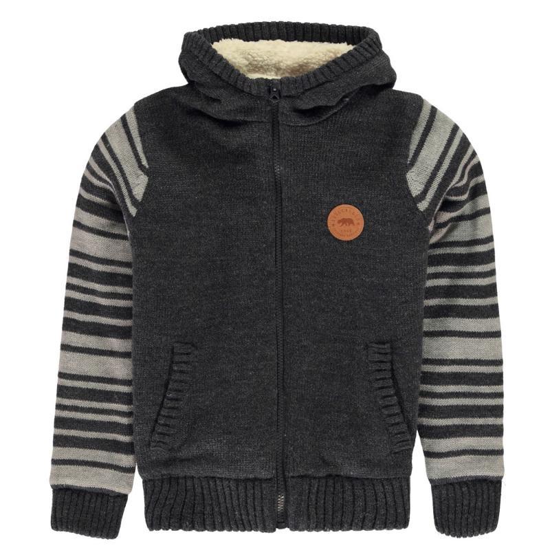 SoulCal Sherpa Lined Knit Jacket Junior Boys Grey/Char