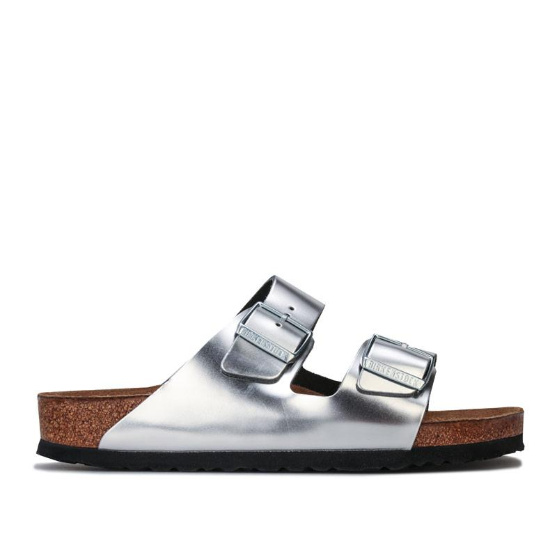 Boty Birkenstock Womens Arizona Leather Sandals Narrow Width Silver