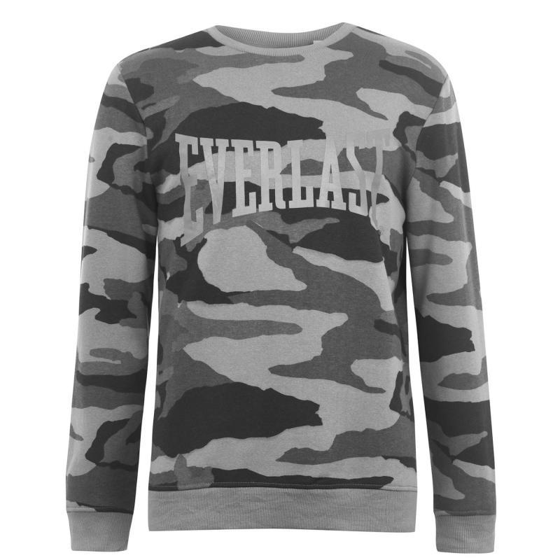 Mikina Everlast Camo Crew Sweater Mens Black AOP