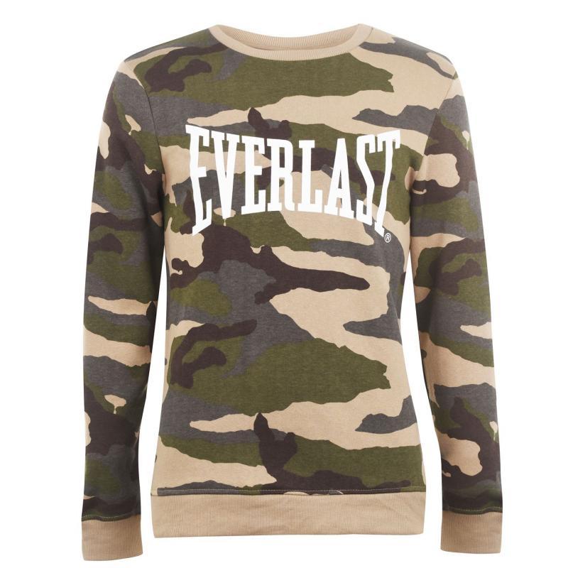 Mikina Everlast Camo Crew Sweater Mens Khaki AOP