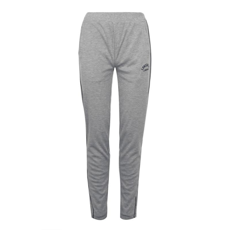 Sportovní kalhoty Lonsdale Interlock Jogging Pants Ladies Grey Marl