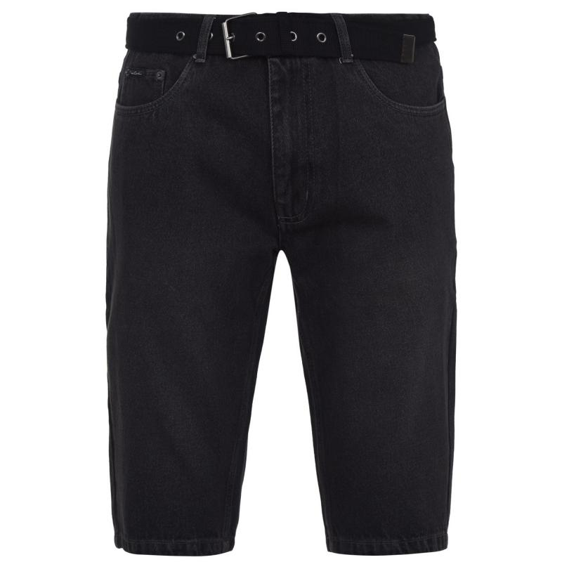 Pierre Cardin Web Belt Denim Shorts Mens Washed Black